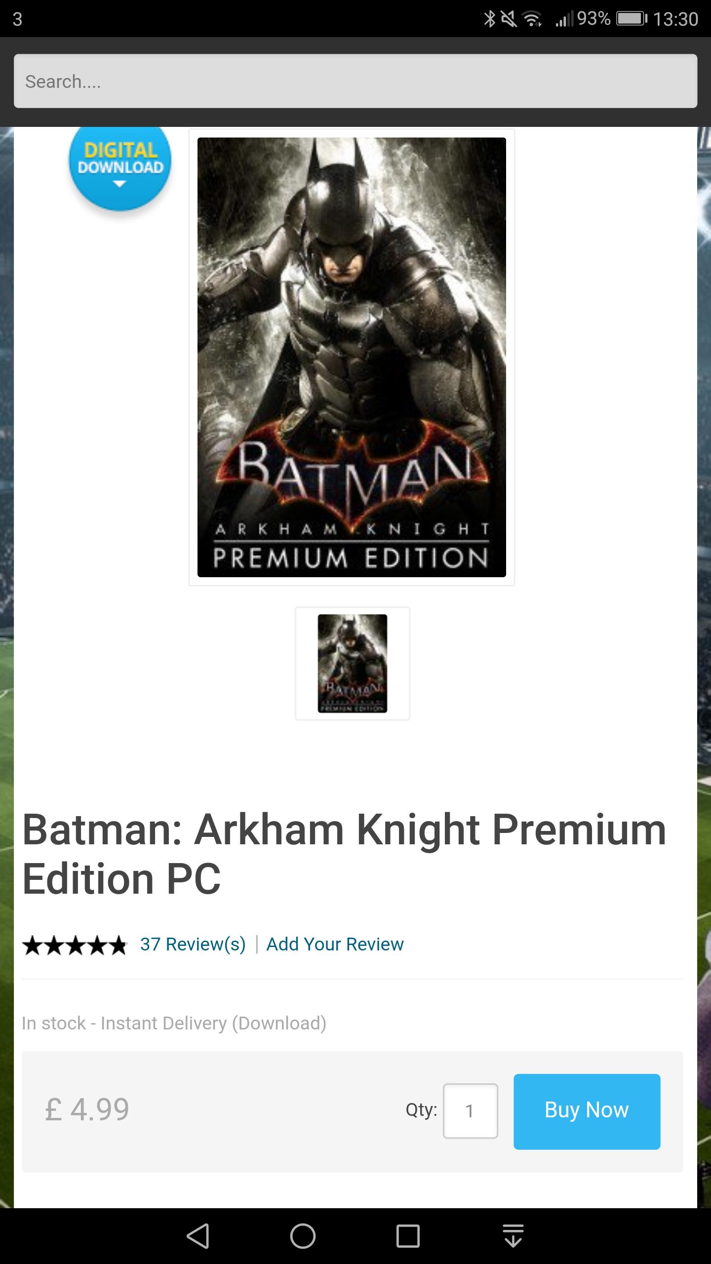 Batman Arkham Knight Premium Edition (includes Season Pass) - £4.99 at CDKeys (£4.74 with FB Like Discount) - Steam