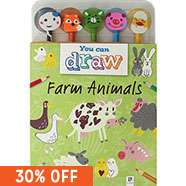 You Can Draw - Farm Animals includes 60 page How to Draw book & 6 Novelty Eraser Topped Pencils now £1.50 C+C @ The Works