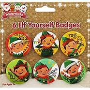 Pack Of 6 Elf Yourself Christmas Badges £1 C+C @ The Works (Glitter Unicorn Poo £2 - Slime with Glitter)