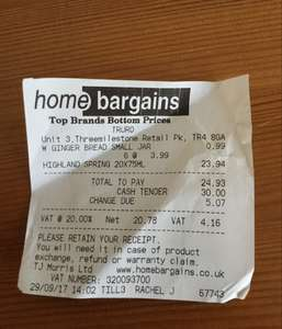 Highland spring 75cl water x 20 £3.99 instore @ Home Bargains