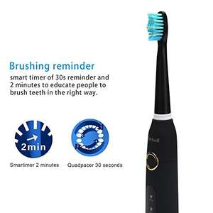 Electric Toothbrush 5 Optional Modes Waterproof with Fully Washable 3 Replacement Heads for £21.59 with code - Sold by Fairywill and Fulfilled by Amazon