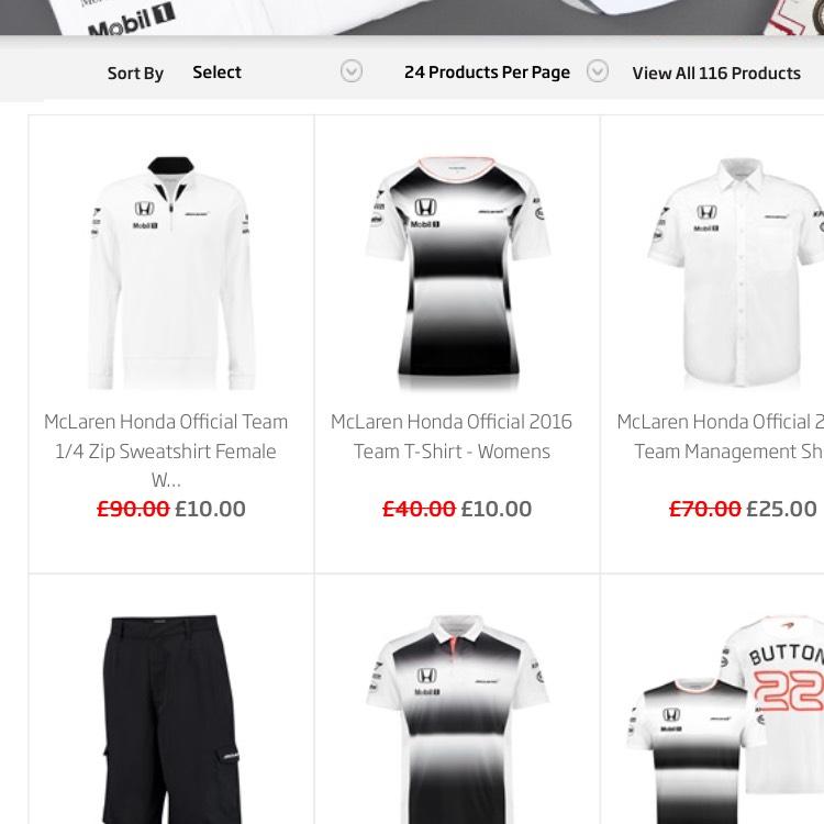 Mclaren Honda T-shirts from £10  plus extra 10%
