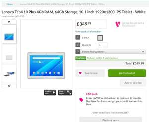 Lenovo Tab 4 Plus 10 (4GB/64GB) £299.99 (after discount) @ Very