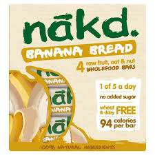Nakd Banana Bread Bars 4X30g 83p Tesco Instore