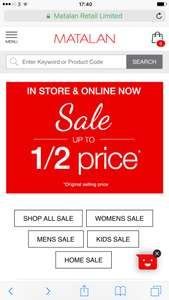 50% off online and Instore in matalan