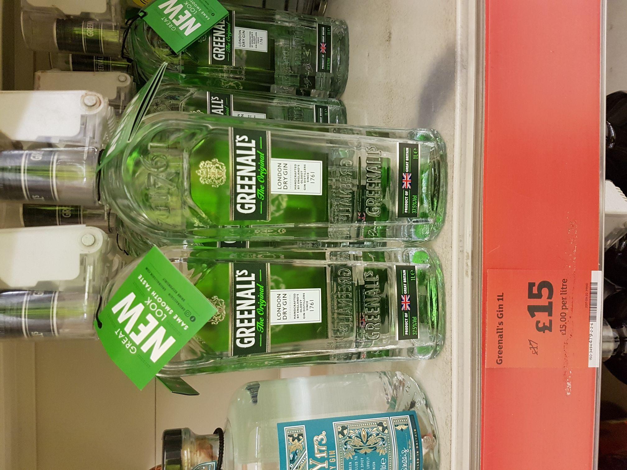 Greenalls  gin 1 litre bottles £15 @ Sainsburys