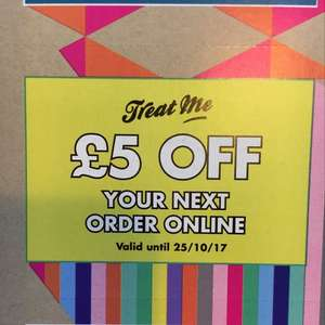 £5 off a £5 Spend at Paperchase - treat me (reward card) holders only online only
