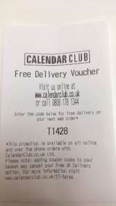 Calendar club FREE DELIVERY code T1428