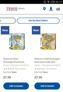 Pokemon Gold and Silver (3DS/2DS) each @ Tesco Direct for £7.50