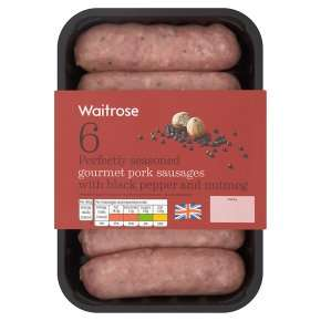 Waitrose 6 British gourmet pork sausages with black pepper & nutmeg £1.31 with PYO