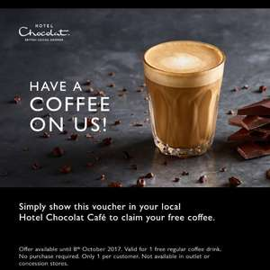 Free coffee from Hotel Chocolat