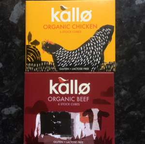 Kallo organic stock cubes chicken/beef and low salt chicken/beef 6 pack Tesco Helsby