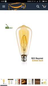 LED Edison Vintage Bulbs Dimmable B22 Bayonet 350LM 4W - £1.99 prime / £5.98 non prime Sold by Mayzon and Fulfilled by Amazon