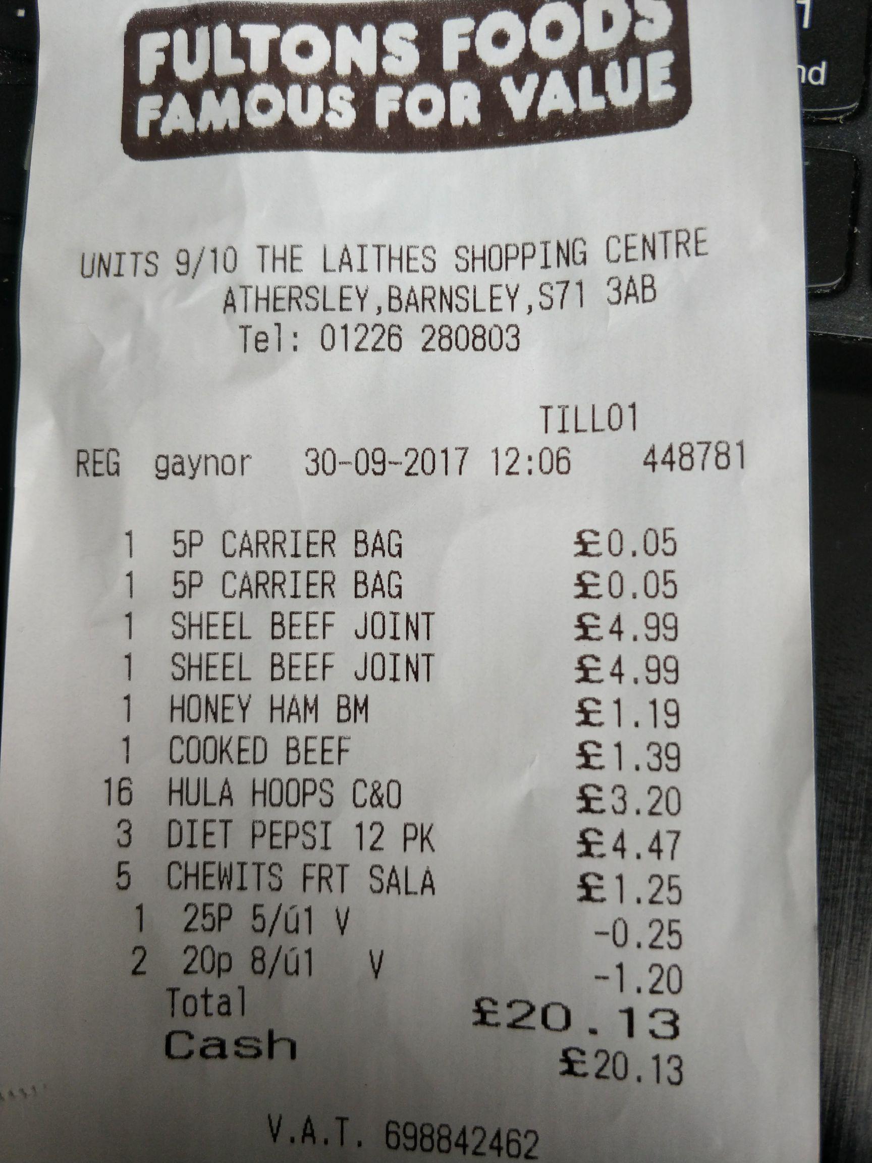 12 pack diet pepsi @ Fulton's foods (Barnsley) - £1.49