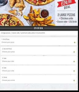 Pizza Hut - £24.99 2 large pizzas, 2 sides and 1.25ltr bottle