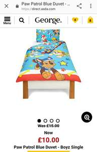 Paw patrol duvet cover -  blue and pink - Reduced to £10  Asda George online