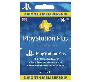 Playstation plus 3 month's - £14.99 Argos