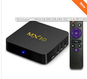 MX10 Android 7.1.2 RK3328 4GB DDR4 32GB eMMC 4K HDR TV BOX 802.1.1 b/g/n WIFI LAN VP9 HDMI USB3.0 - Black £38.71 @ Geekbuying