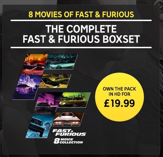 Rakuten TV: Fast & Furious 8 Movie Boxset - £19.99 Digital HD + 20% Cashback via TopCashback