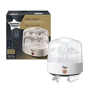 Tommee Tippee Electric Steriliser (White - 5 min sterilise time)  now £29.49 -  Includes Tommee Tippee closer to nature anytime 0-6m soother + FREE baby box worth £40 @ Amazon