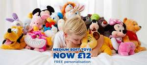 Disney Store Medium Soft Toys with Free Personalisation - £12 (+ £3.95 delivery)