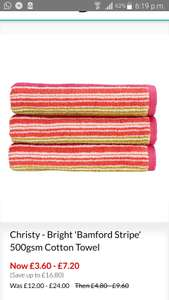 Christy 500gsm cotton hand towel £3.60/bath towel £7.20 @ Debemhams