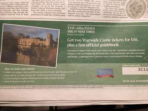 Pair of Warwick Castle Tickets, any day, free guide book £14.70 with The Times