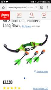 Air storm dino hunter bow now £12.99 in Argos clearance. Good reviews!