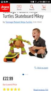 Ninja Turtle Skateboard Mikey. Good reviews. Now £22.99 in Argos (still £59.99 in Toys R Us)