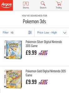 Pokemon Gold/Silver Download code with box £9.99 Argos