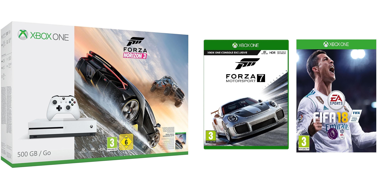 Xbox One S 500GB Console + Forza Horizon 3 + Fifa 18 + Forza Motorsport 7 £219.99 @ Argos