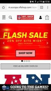 NFL Store Europe 20% off flash sale