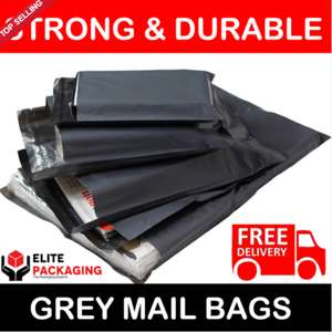 "100 BAGS - 10"" x 14"" STRONG 55MU MAILING POSTAGE POSTAL QUALITY SELF SEAL GREY £3.95 elite-packaging / Ebay"