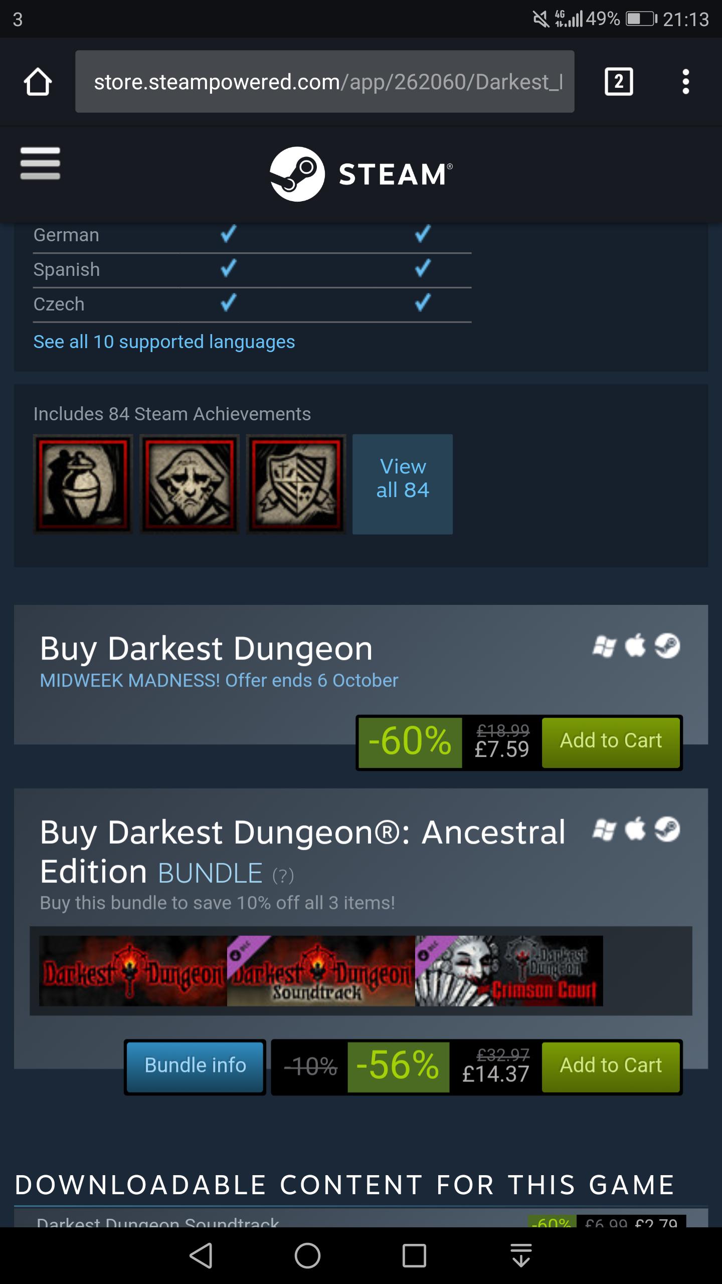 Darkest Dungeon - Steam Midweek Madness - 60% Off - £7.59