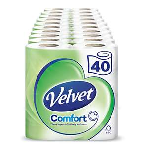 Velvet White Toilet Roll Tissue Paper- 40 Rolls (Pack of 10 X 4) - £11.88 @ Amazon (S&S) - Prime Exclusive