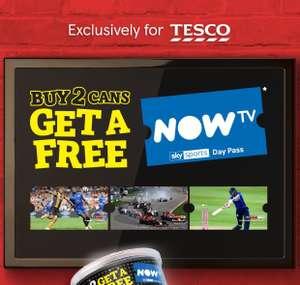 Buy 2 tubs of Pringles and get a free now tv day pass - The promotion only applies to Pringles bought in Tesco stores.
