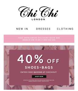 40% off bags and shoes at chichi clothing