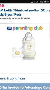 FREE Mam Bottle worth £8 at Boots (or breast pads) AND free Folic Acid Tablets via app / parenting club