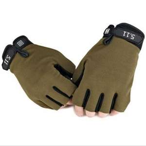 Pair of Male Half-finger Adjustable Breathable Sports Gloves  -  M  ARMY GREEN for £0.56 with code (70%OFF$1) - Gearbest