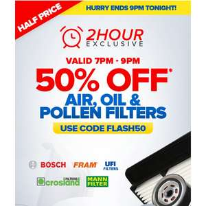 Flash 50 sale Air , oil and pollen filters Expires 9pm. 4-10-2017 @ Eurocarparts