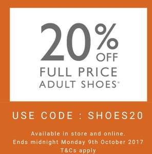 20% off full price Adult Shoes at clarks