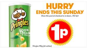 Pringles for 1p  - 2p incl vat @ JTF