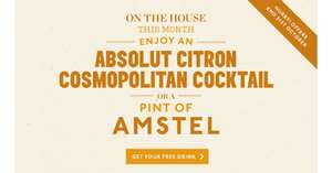 FREEBIE from Pitcher & Piano, Absolut Citron Cosmopolitan cocktail or a pint of Amstel  this October