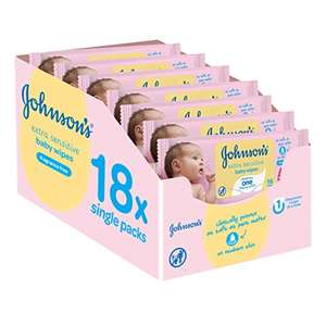 Johnson's Baby Extra Sensitive Fragrance Free Wipes - Pack of 18, Total 1008 Wipes £7.50 S&S / £6.50 w 5+ items @ Amazon