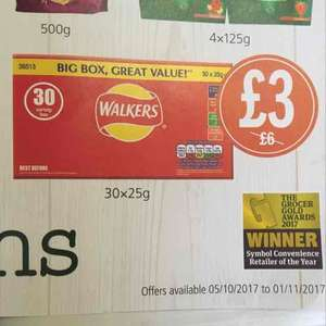 Walkers 30 variety box £3 at Budgens, Bluntisham