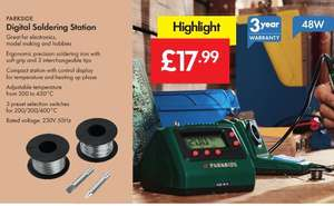 DIGITAL Soldering Station 48W - £17.99 - LIDL (Parkside) - 3 Year Warranty