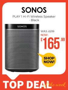 Sonos PLAY 1 Hi-Fi Wireless Speaker - Black £165.99 @ Eglobal Central