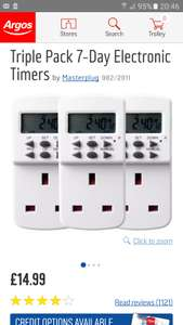 Masterplug 7 day electric timer 3x pack £14.99 @ Argos