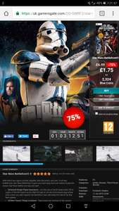 Star Wars: Battlefront II (2005) - £1.75 - 75% Off - GamersGate (multiplayer is back!!)