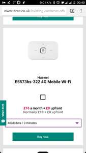40Gb mobile broadband with 3 Three (existing customers only) £16 x 24 =£384
